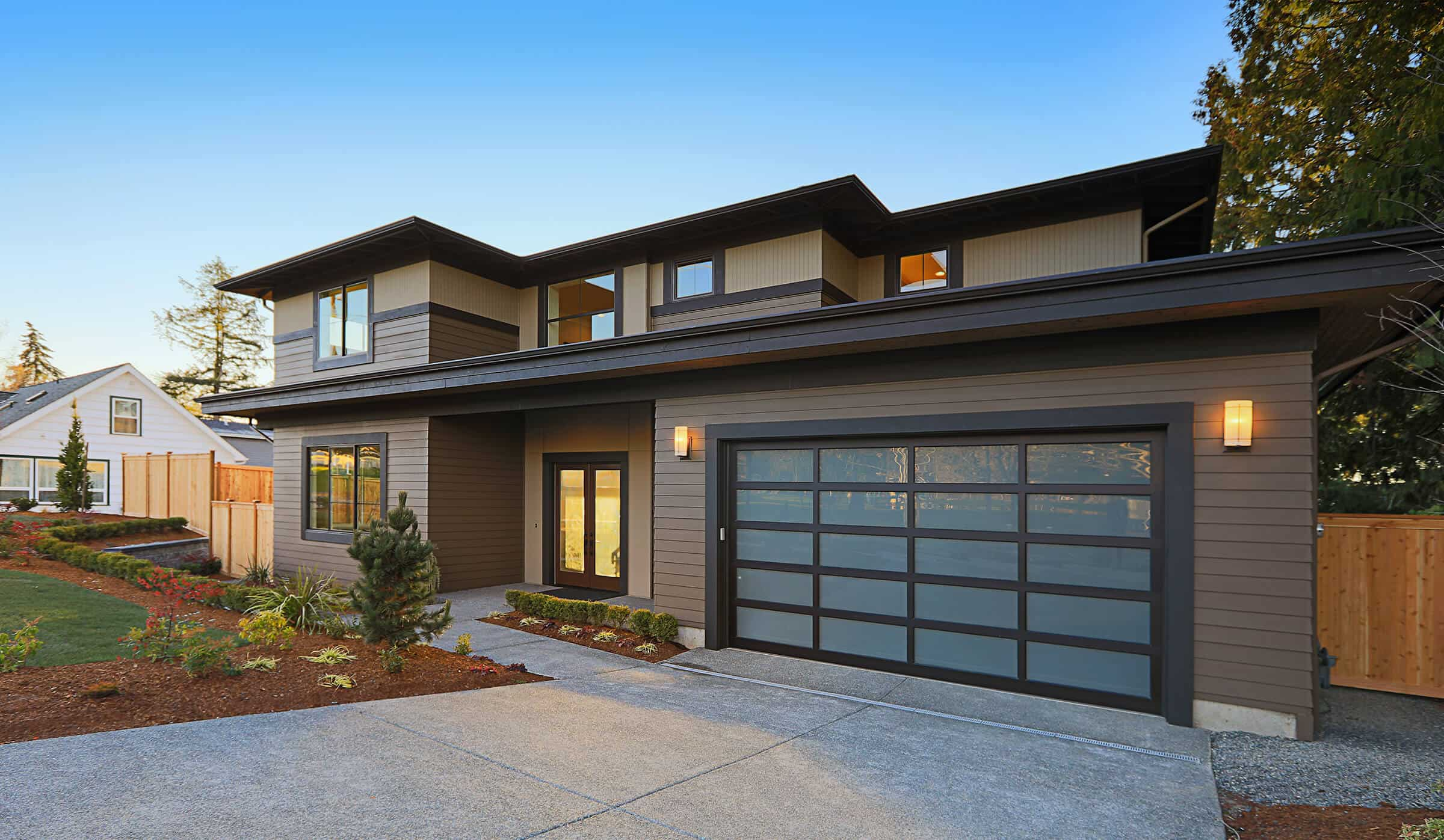 Modern Home with Low Slope Roof and Dark Trim